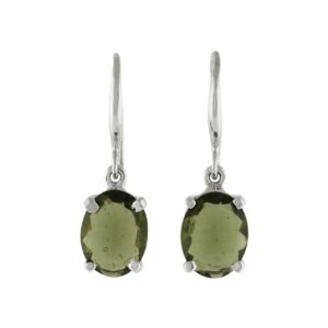 Starborn Moldavite Faceted Oval Drop Earrings in Sterling SIlver