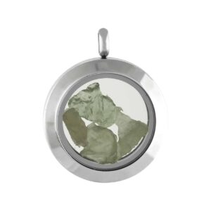 Starborn Moldavite Window Pendant in Stainless Steel