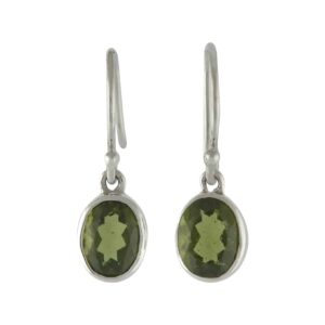 Starborn Moldavite Faceted Oval Earrings in Sterling Silver
