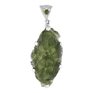 Starborn Carved Dragon Moldavite Pendant in Sterling Silver
