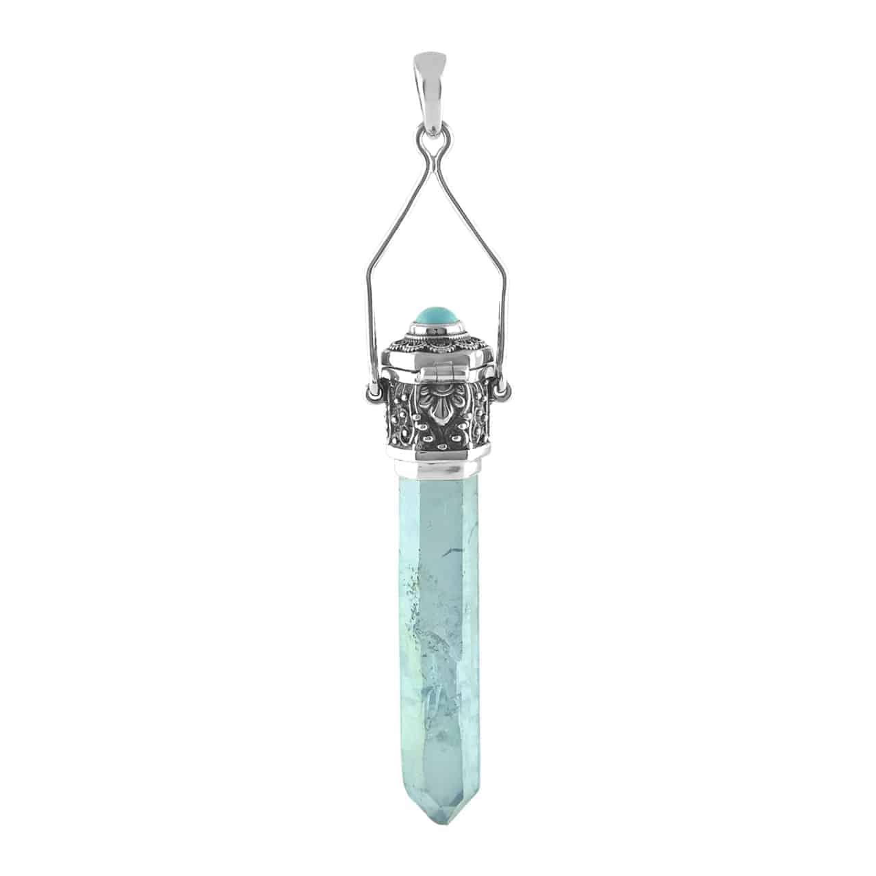 Unique hammered copper pendant with aqua aura quartz crystal
