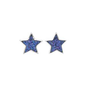 Starborn Purple Drusy Star Post Earrings in Sterling Silver