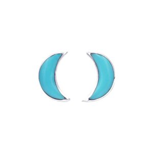 Starborn Turquoise Crescent Moon Post Earrings in Sterling Silver