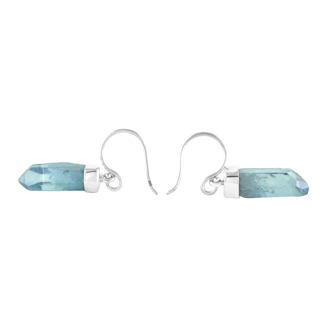 Natural Round Orange Aura Quartz Sterling Silver Dangle Earrings