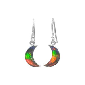 Starborn Ammolite Crescent Moon Sterling Silver Drop Earrings