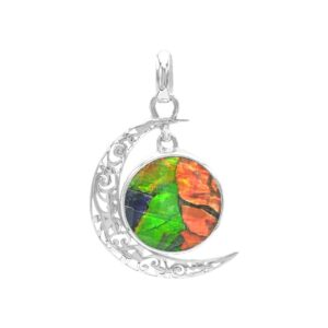 Starborn Ammolite and Faceted Quartz Crescent Moon Pendant in Sterling Silver