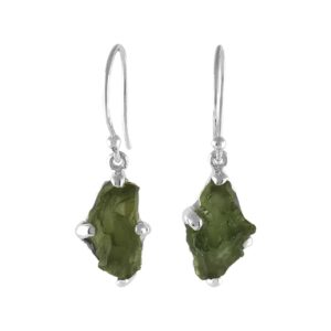 Starborn Sterling Silver Natural Raw Moldavite Small Earrings