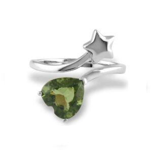 Starborn Faceted Moldavite Heart and Star Ring in Sterling Silver