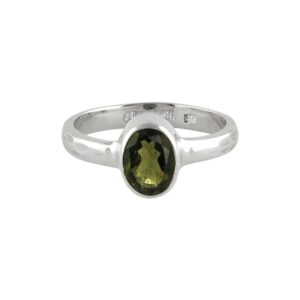 Starborn Faceted Moldavite 1ct Ring in Sterling Silver