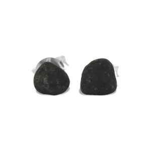 Starborn Rough Agoudal Meteorite Post Earrings in Sterling Silver – Small
