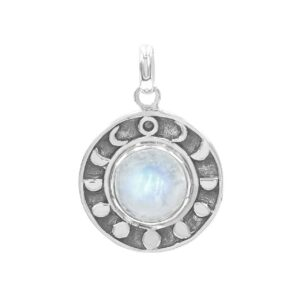 Starborn Rainbow Moonstone Moon Phases Pendant in Sterling Silver
