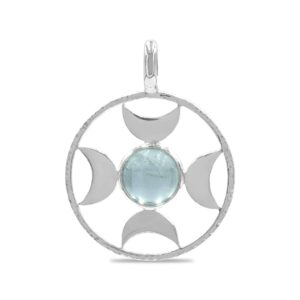 Starborn Directional Moon Sphere Pendant – Aquamarine