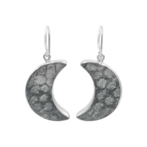 Starborn Fossil Coral Crescent Moon Earrings in Sterling Silver