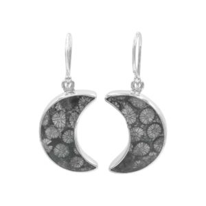 Starborn Fossil Coral Crescent Moon Earrings in Sterling Silver – Small