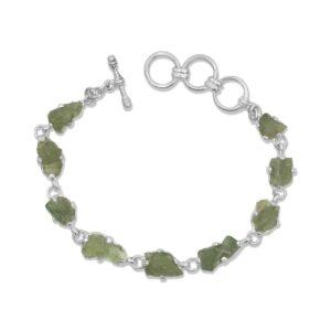 Starborn Moldavite Bracelet in Sterling Silver