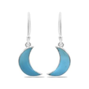 Starborn Turquoise Crescent Moon Drop Earrings in Sterling Silver