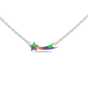 Starborn Ammolite Shooting Star Necklace in Sterling Silver