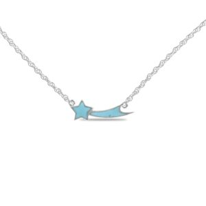 Starborn Turquoise Shooting Star Necklace in Sterling Silver