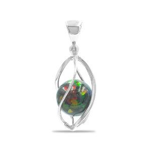 Starborn Ammolite Sphere Spiral Cage Pendant in Sterling Silver