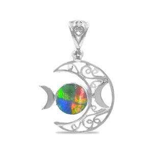 Starborn Triple Moon Filigree Pendant in Sterling Silver – Ammolite