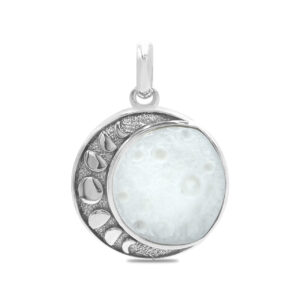 Starborn Mother of Pearl Moon Phase Carved Pendant in Sterling Silver