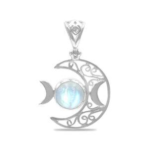 Starborn Triple Moon Filigree Pendant in Sterling Silver – Rainbow Moonstone