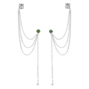 Starborn Faceted Moldavite 5 mm Post Ear Cuffs in Sterling Silver