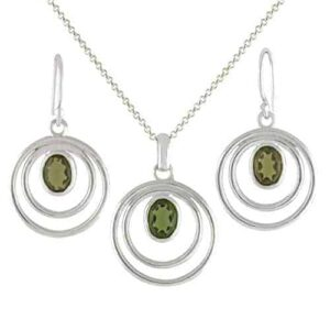 Starborn Moldavite Pendant and Earring Set in Sterling Silver – Oval Cut Graduated Orbit Design