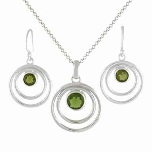 Starborn Moldavite Pendant and Earring Set in Sterling Silver – Round Cut Graduated Orbit Design
