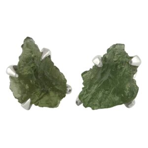 Starborn Rough Moldavite Sterling Silver Post Earrings