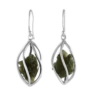 Starborn Sterling Silver Natural Moldavite Caged Earrings