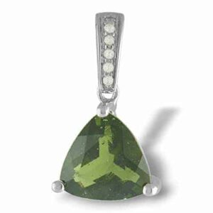 Starborn Creations Sterling Silver Natural Faceted Moldavite Trillion Pendant