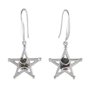 Starborn Sterling Silver Campo del Cielo Meteorite Star Earrings