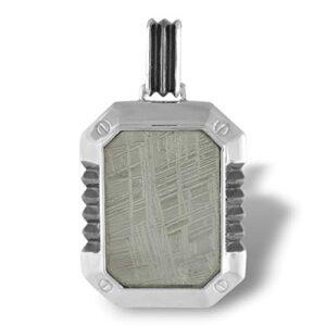 Starborn Sterling Silver Modernistic Muonionalusta Meteorite Pendant