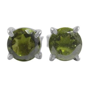 Starborn Faceted Moldavite 6 mm Sterling Silver Post Earrings
